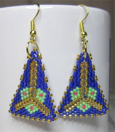 Perles : boucles d'oreilles triangulaires bleues