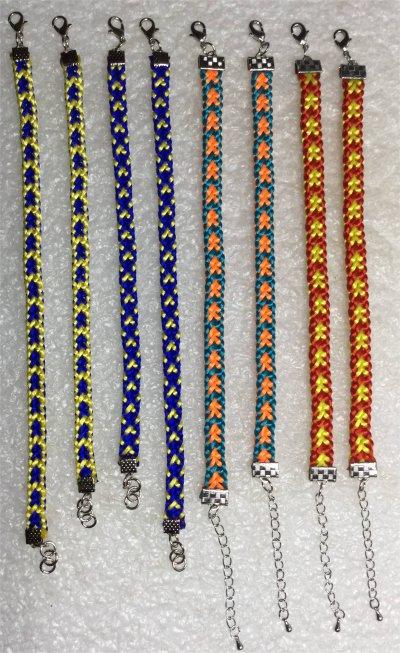Kumihimo : 8 bracelets montés