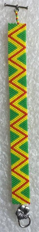 Perles : bracelet peyote jaune, vert, rouge
