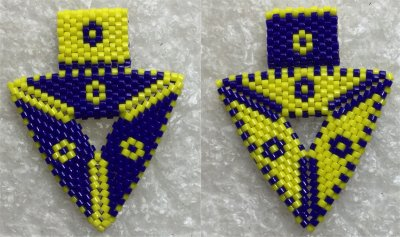 Perles : pendentif triangulaire double face