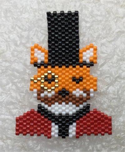 Perles : broche renard haut de forme