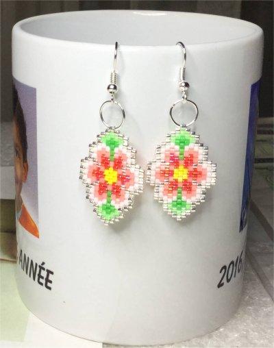 Perles : boucles d'oreilles fleurs 3