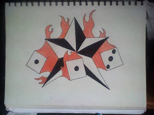 star with dices on fire