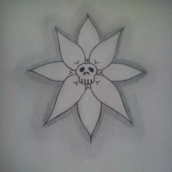 skull in a flower