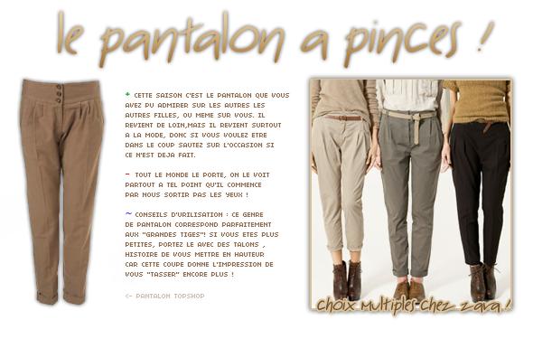 style - le pantalon à pinces .