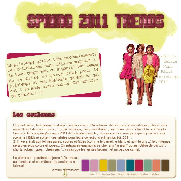 ___+ TENDANCES : ___Les tendances printemps/été 2011