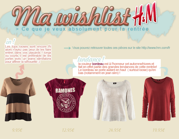 Ma wishlist chez H&M facebook ▲ twitter ▲ formspring