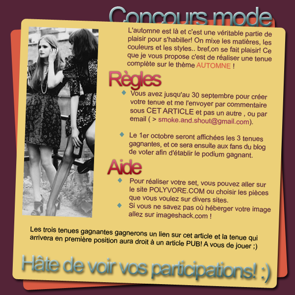 concours modefacebook ▲ twitter ▲ formspring