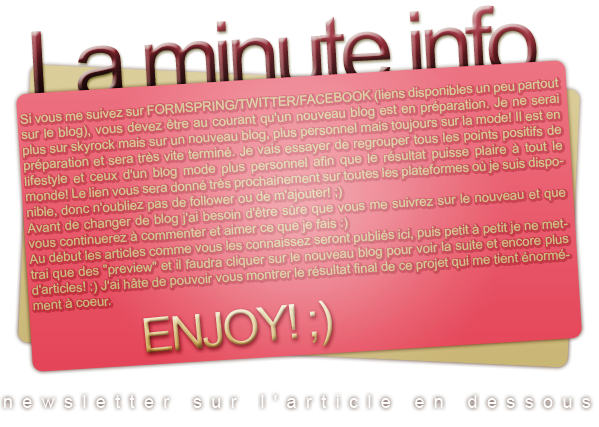 minute infos: nouveau blog/sitefacebook ▲ twitter ▲ formspring