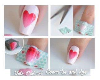 Nail art coeur tie & dye