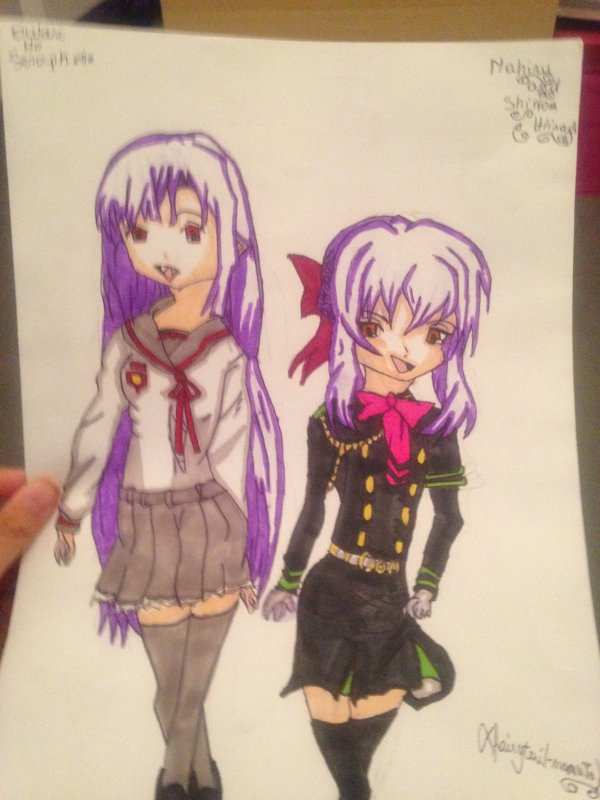 Drawing Mahiru Hiiragi and Shinoa Hiiragi