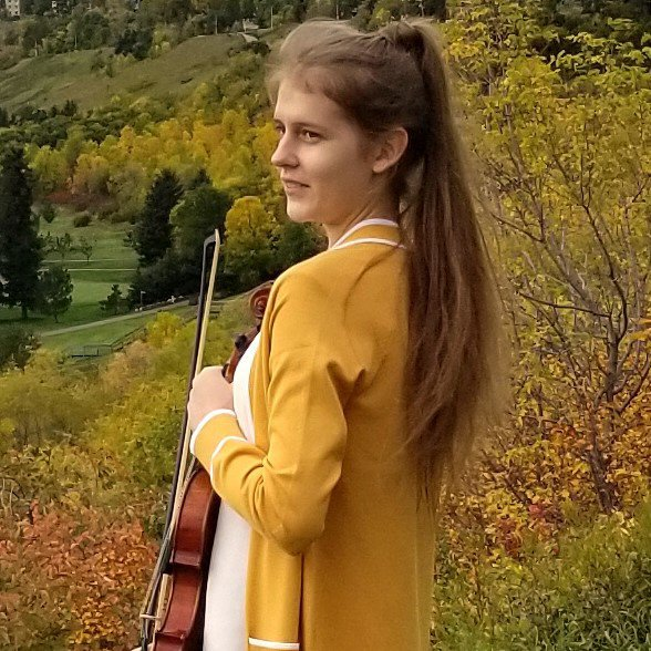 Girl, violin, and autumn