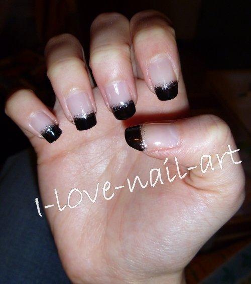 nail art noir avec des paillettes argent es blog de i. Black Bedroom Furniture Sets. Home Design Ideas