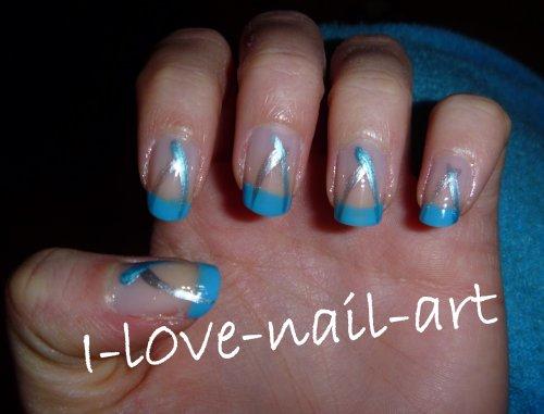 Nail art bleu turquoise et brillant et argent blog de - Nail art bleu ...