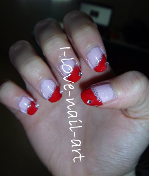 Nail Art Rouge, Rose, Paillette Et Strass Argenté
