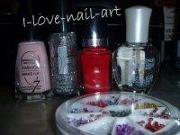 Nail art rouge, rose, paillette et strass argenté