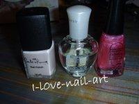 Nail art rose et coeur violet
