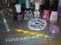 Nail art rose et fleur violette