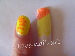 Nail art jaune et orange fluo