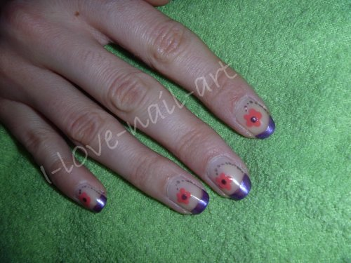French violette avec fleur rose