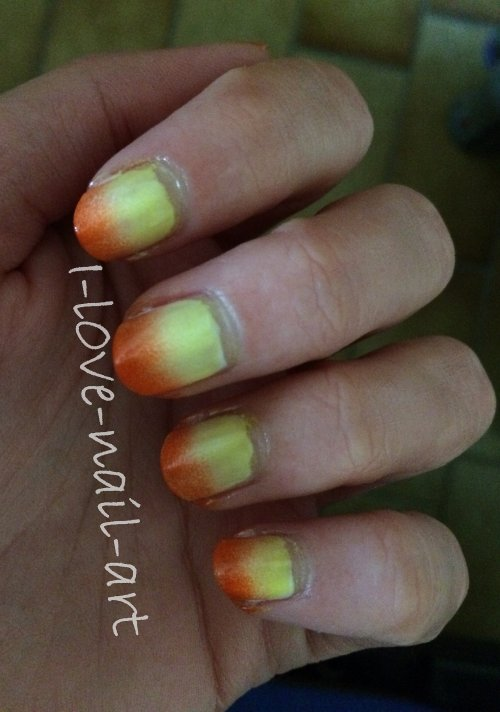 Nail art jaune et orange
