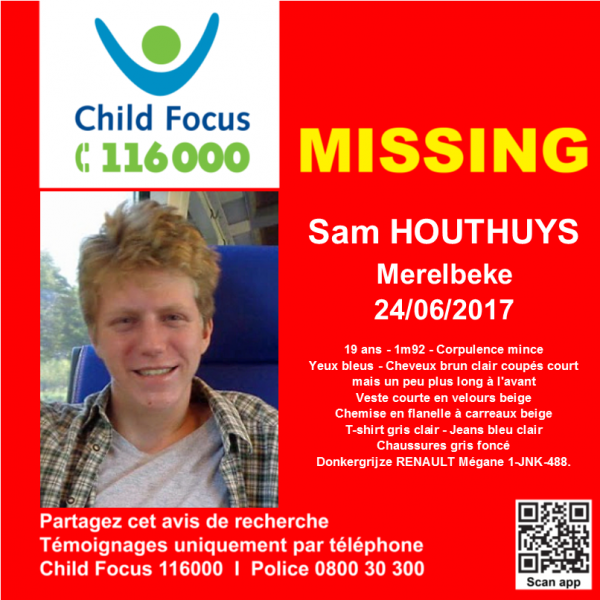 Verdwijning van Sam #HOUTHUYS te #Merelbeke op 24/06/2017