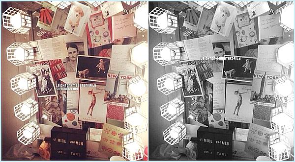 """Le 23/07/2014 : Leighton dans les coulisses de """"Of Mice And Men"""" au théâtre 'Longacre' à New York.  Leighton est toute souriante et son maquillage lui va parfaitement bien"""