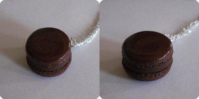 Collier mignon Macaron chocolat