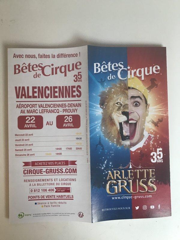FLYER ARLETTE GRUSS VALENCIENNES 2020 BÊTES DE CIRQUE 35 ANS