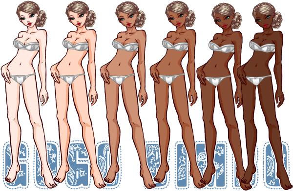 Les différentes teintes de peau Ma-bimbo