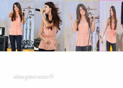 Selena Gomez se déchaîne sur scène lors d'un concert pour l'émission Good Morning America où elle a fait valser ses cheveux ! New York, 17 juin 2011