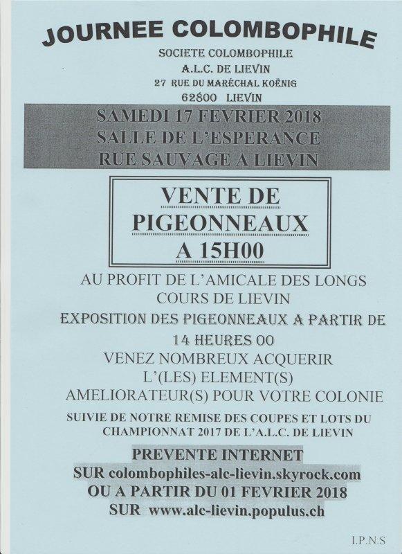 Vente de pigeonneaux des ALC LIEVIN SAMEDI 17 FEVRIER 15h00