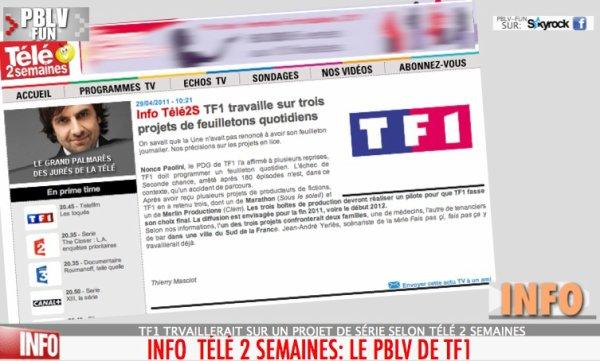 CONCURRENCE TF1 VS FRANCE 3: TF& TRAVAILLE SUR TROIS PROJET DE FEUILLETONS QUOTIDIENS
