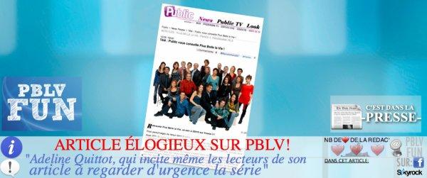"""ARTICLE ÉLOGIEUX SUR PBLV DE LA PART DU MAG """"PUBLIC"""""""