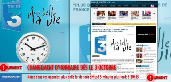 """""""PLUS BELLE LA VIE"""" ET LES PRIME TIMES DE FRANCE 3 DÉCALÉS DÈS LE 3 OCTOBRE"""
