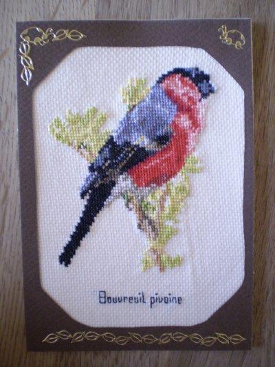 """""""Bouvreuil pivoine"""" 11 x 15,5 cm, avec enveloppe. Vendu : 5 euros 40 port compris"""
