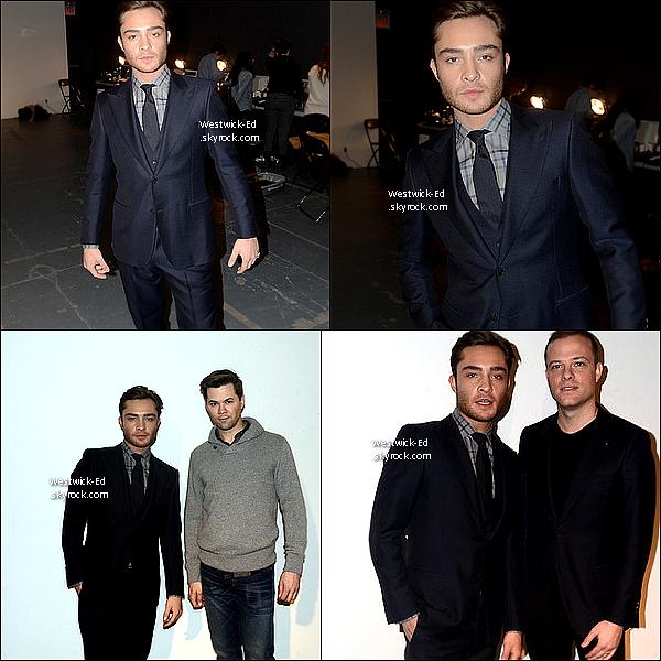13/02/11 : Ed assistait au défilé de Simon Spurr, il a seulement posé en backstage ! Photos de mauvaises qualités..