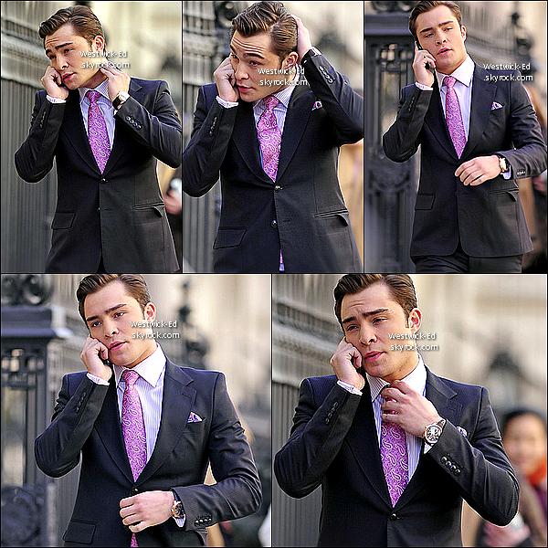 16/02/11 : Ed Westwick en Chuck Bass, collé à son téléphone, sur le tournage de la 4ème saison de Gossip Girl.