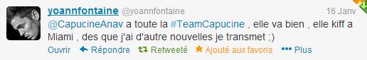 Yoann tweet de la part de Capucine