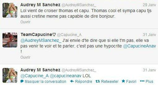 Je défends Capucine sur twitter après les critiques d'Audrey (SS6)