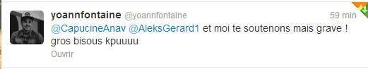 Petit mot sur twitter de la part de Yoann & Aleks pour Capucine