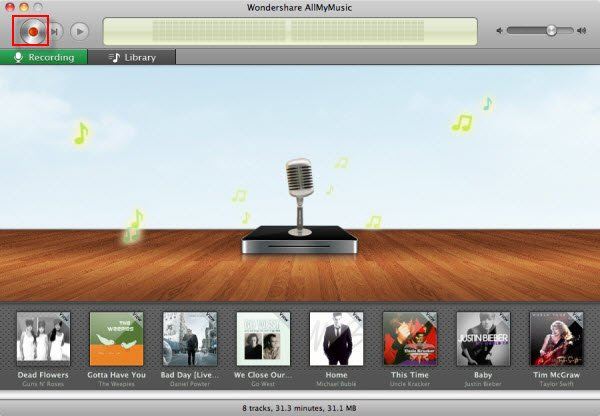 Record Audio with Wondershare Allmymusic for Mac