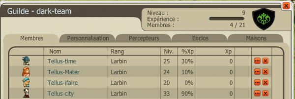 Intégration de la guilde et XP