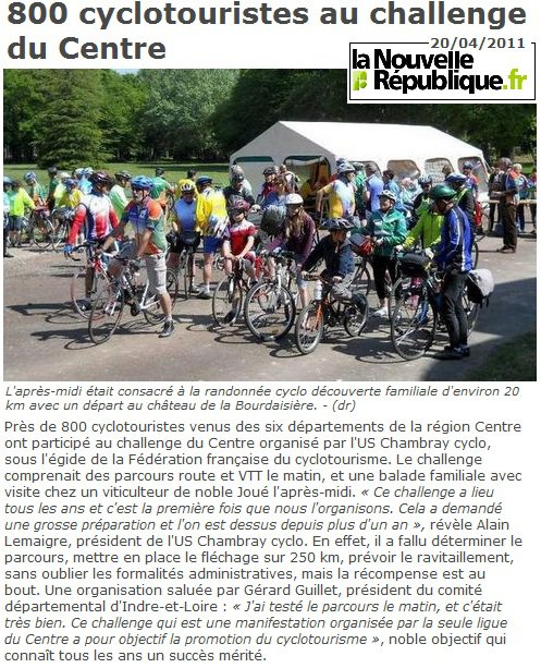 Challenge du Centre FFCT a Chambray le 17 avril 2011