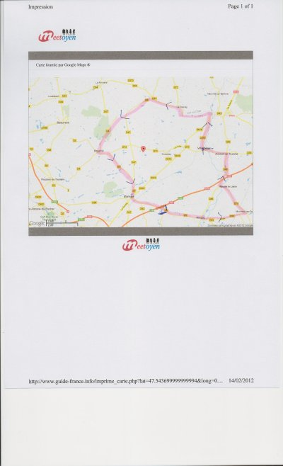 Parcours entrainement du 18 février 2012