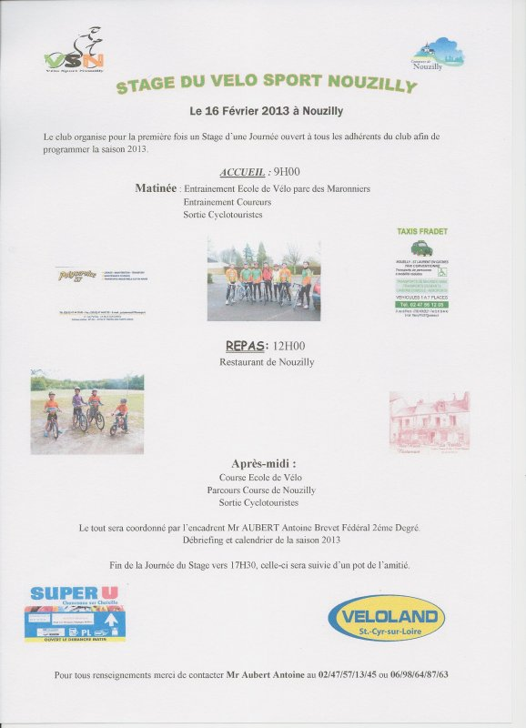 Stage du Vélo Sport Nouzilly