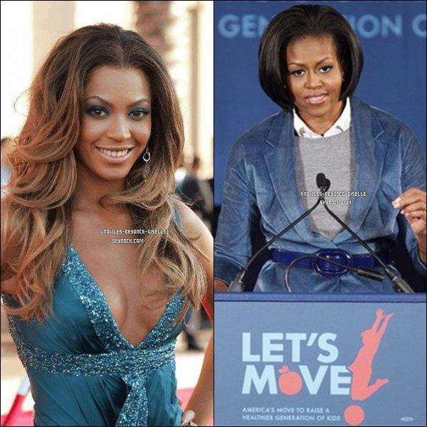 """. LET'S MOVE ! . Beyoncé rejoint Michelle Obama pour la campagne Let's Move - Flash Workout  qui lutte contre l'obésité chez les jeunes. Pour l'occasion, elle a ré-écrit et ré-enregistré l'une de ses chansons.Elle enregistrera  également une vidéo explicative qui montrera les différents mouvements de la chorégraphie, et qui sera distribuée aux écoles participant à l'événement. Le 3 mai à la même heure, les écoliers reproduiront la danse concoctée par Beyoncé.   """"Je suis très enthousiaste à l'idée de participer à ce mouvement qui combat cette crise de santé publique majeure. La première dame Michelle Obama a le mérite d'aborder ce problème de manière directe, et j'applaudis la NAB Education Foundation qui essaie de changer les choses dans la vie des écoliers."""" a déclaré Beyoncé.."""
