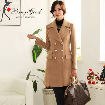 Enjoy Warmth With Women Camel Double Breasted Long Coats