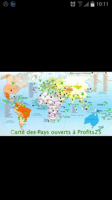 Profits25 fonctionne partout dans le monde.