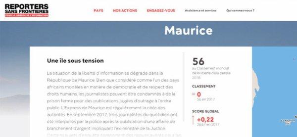 [Classement RSF] Maurice stagne à la 56e place en matière de liberté de la presse